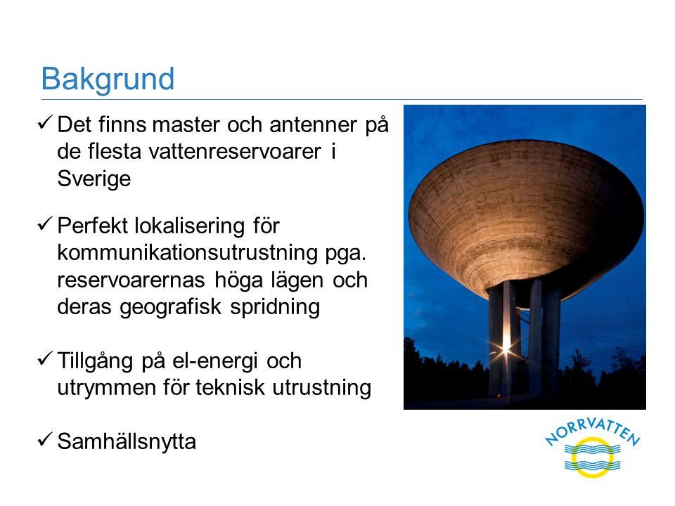 Bakgrund Det finns master och antenner på de flesta vattenreservoarer i Sverige Perfekt lokalisering för kommunikationsutrustning pga.
