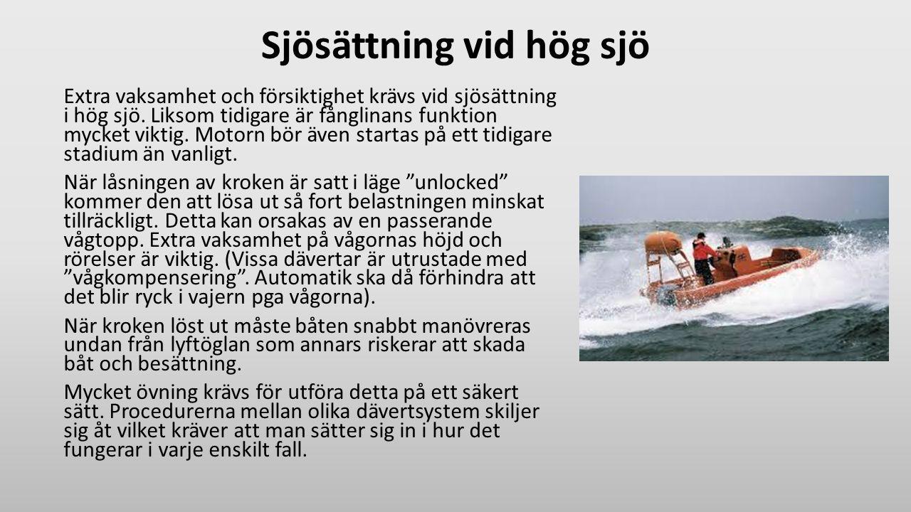 Sjösättning vid hög sjö Extra vaksamhet och försiktighet krävs vid sjösättning i hög sjö. Liksom tidigare är fånglinans funktion mycket viktig. Motorn