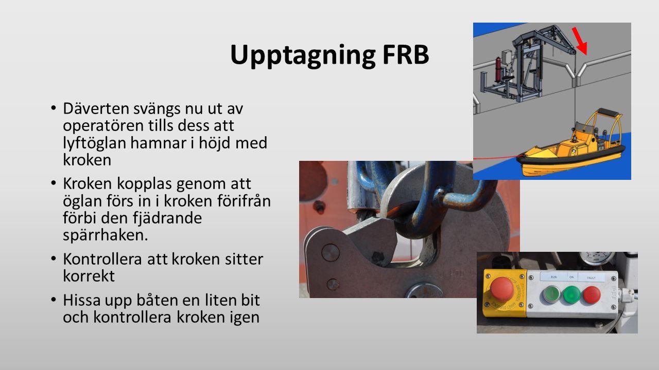 Upptagning FRB Däverten svängs nu ut av operatören tills dess att lyftöglan hamnar i höjd med kroken Kroken kopplas genom att öglan förs in i kroken f