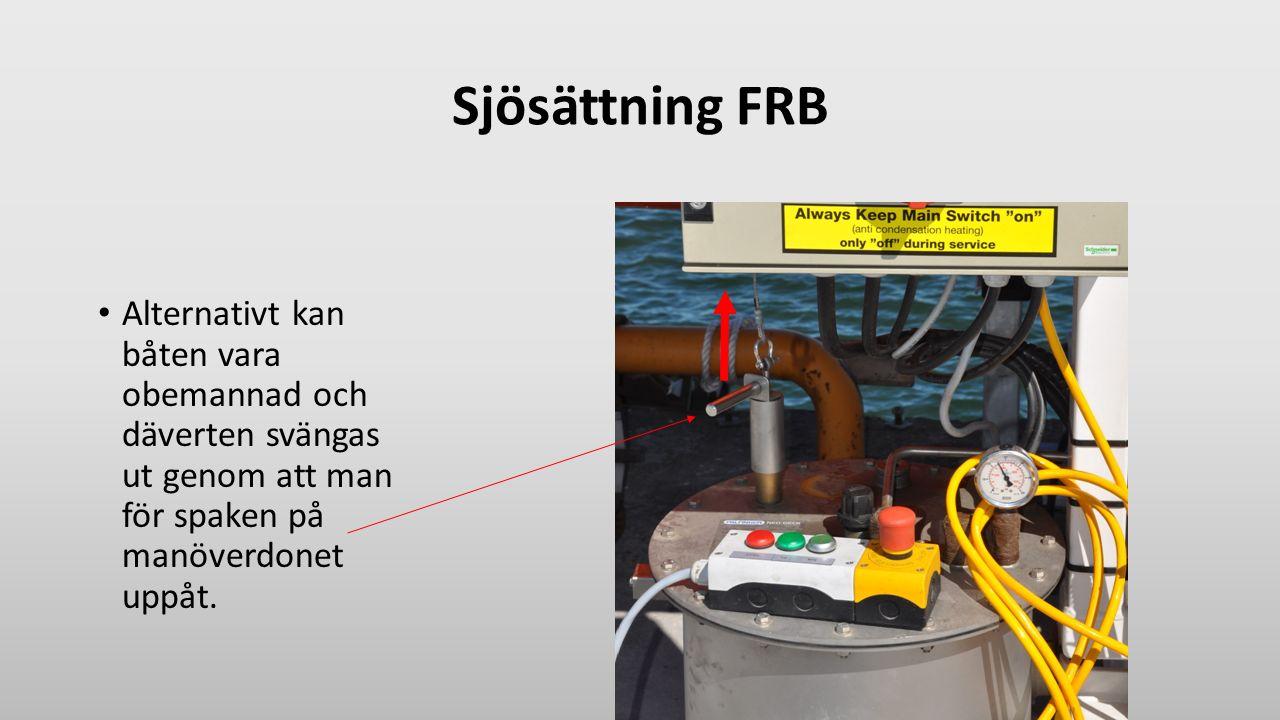 Sjösättning FRB Alternativt kan båten vara obemannad och däverten svängas ut genom att man för spaken på manöverdonet uppåt.