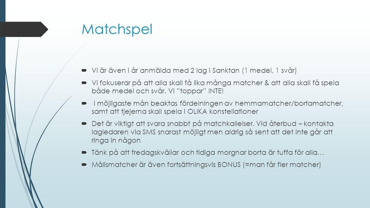 Matchspel  Vi är även i år anmälda med 2 lag i Sanktan (1 medel, 1 svår)  Vi fokuserar på att alla skall få lika många matcher & att alla skall få spela både medel och svår.