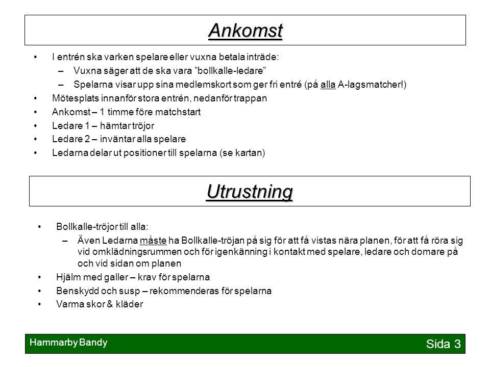 """Hammarby Bandy Sida 3 Ankomst I entrén ska varken spelare eller vuxna betala inträde: –Vuxna säger att de ska vara """"bollkalle-ledare"""" –Spelarna visar"""