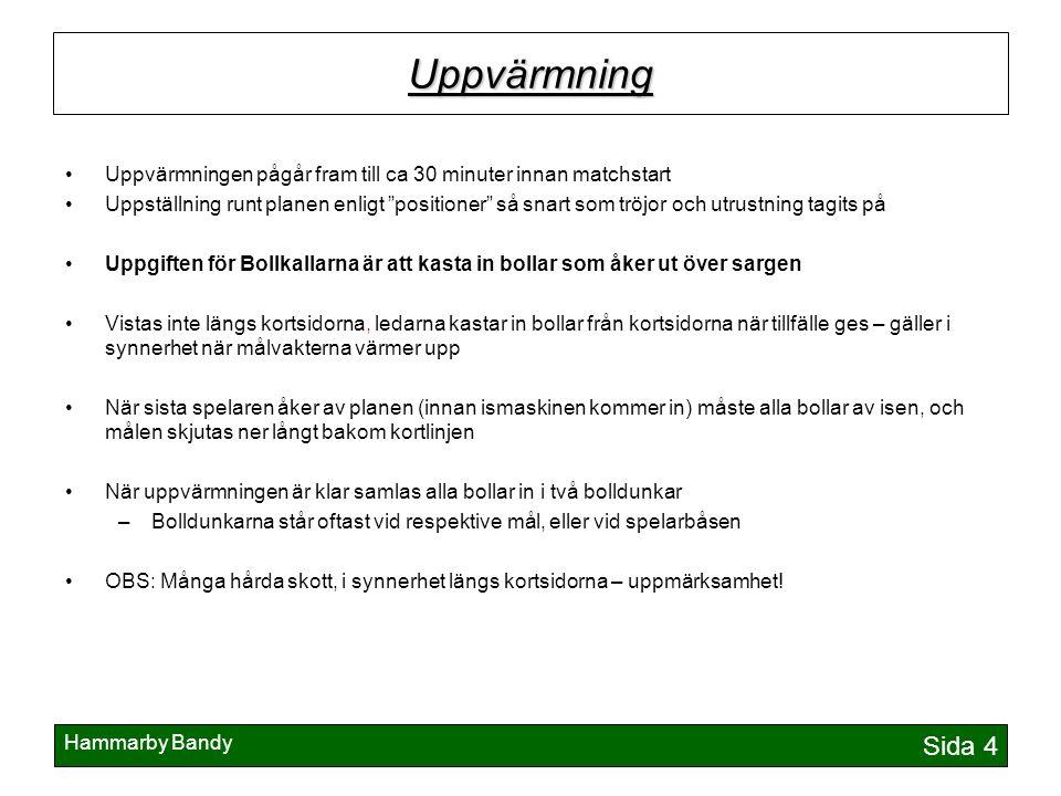 """Hammarby Bandy Sida 4 Uppvärmning Uppvärmningen pågår fram till ca 30 minuter innan matchstart Uppställning runt planen enligt """"positioner"""" så snart s"""
