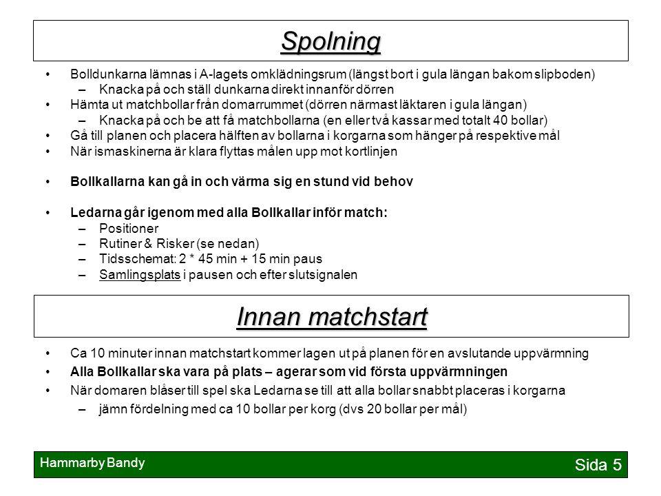 Hammarby Bandy Sida 5 Spolning Bolldunkarna lämnas i A-lagets omklädningsrum (längst bort i gula längan bakom slipboden) –Knacka på och ställ dunkarna