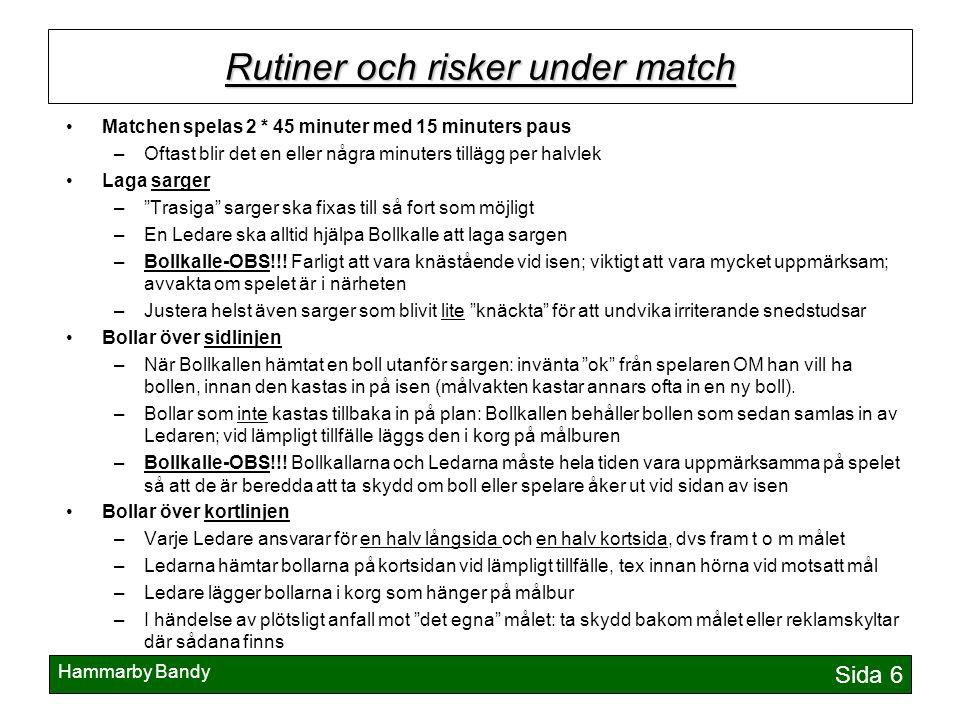 Hammarby Bandy Sida 6 Rutiner och risker under match Matchen spelas 2 * 45 minuter med 15 minuters paus –Oftast blir det en eller några minuters tillä