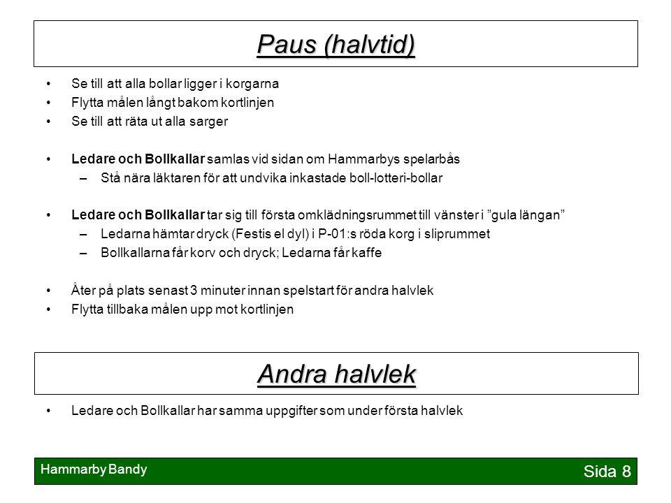 Hammarby Bandy Sida 9 Avslutning Samla in alla matchbollar i plastpåse/påsar Flytta målen bakom kortlinjen Upphittade boll-lotteri-bollar (med siffror på) lämnas in till boll-lotteri-ledare Samla alla Ledare och Bollkallar vid sidan om Hammarbys spelarbås Samla in alla Bollkalle-tröjor Matchbollarna lämnas in till A-laget –Knacka på och lägg innanför dörren till omklädningsrummet, längst bort i gula längan Bollkalle-tröjorna hängs upp.