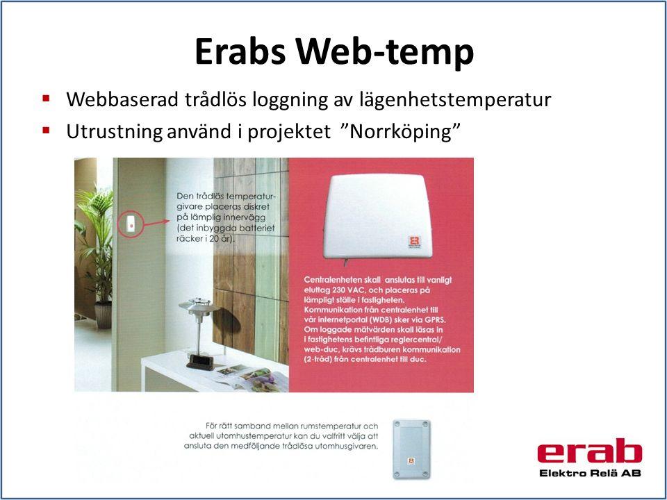 Erabs Web-temp  Webbaserad trådlös loggning av lägenhetstemperatur  Utrustning använd i projektet Norrköping