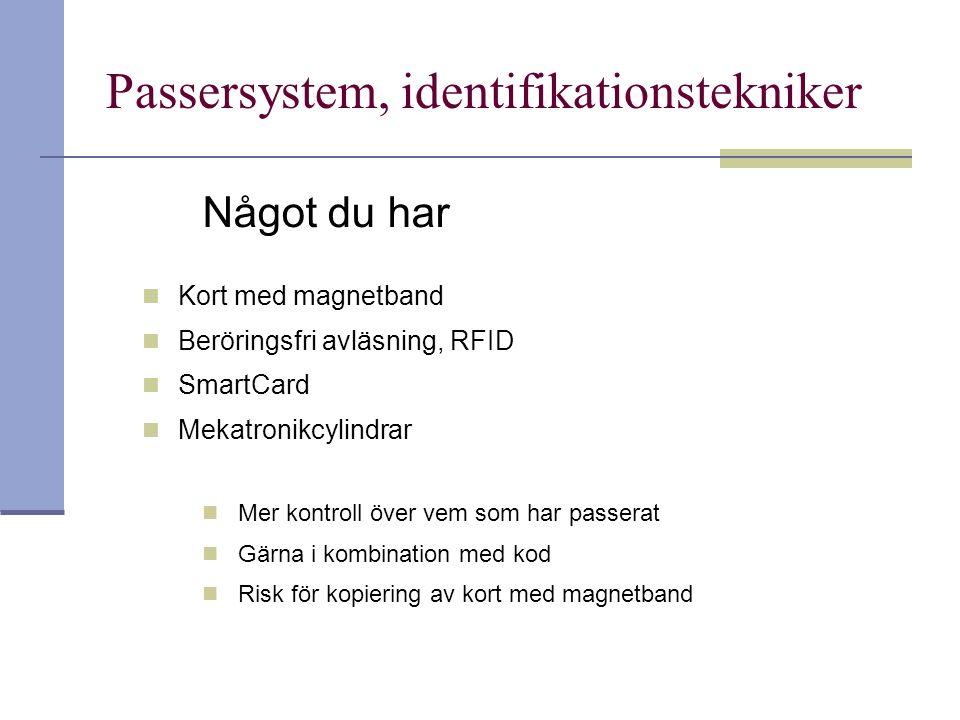 Passersystem, identifikationstekniker Något du har Kort med magnetband Beröringsfri avläsning, RFID SmartCard Mekatronikcylindrar Mer kontroll över ve