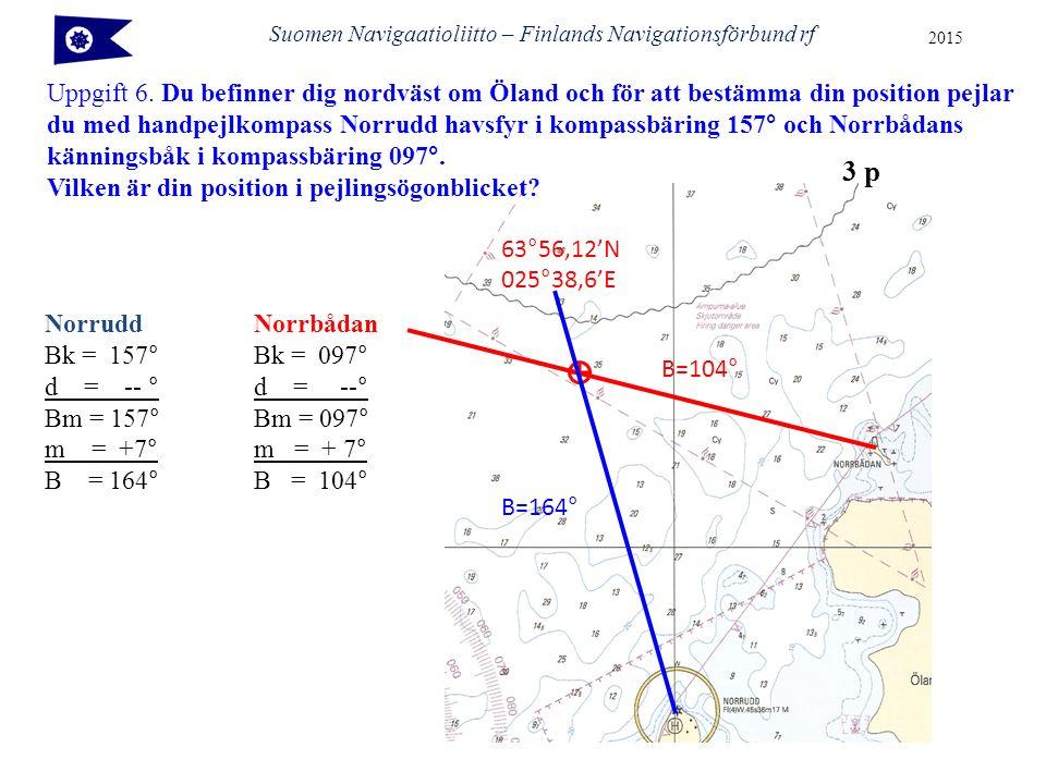 Suomen Navigaatioliitto – Finlands Navigationsförbund rf 2015 Uppgift 6.