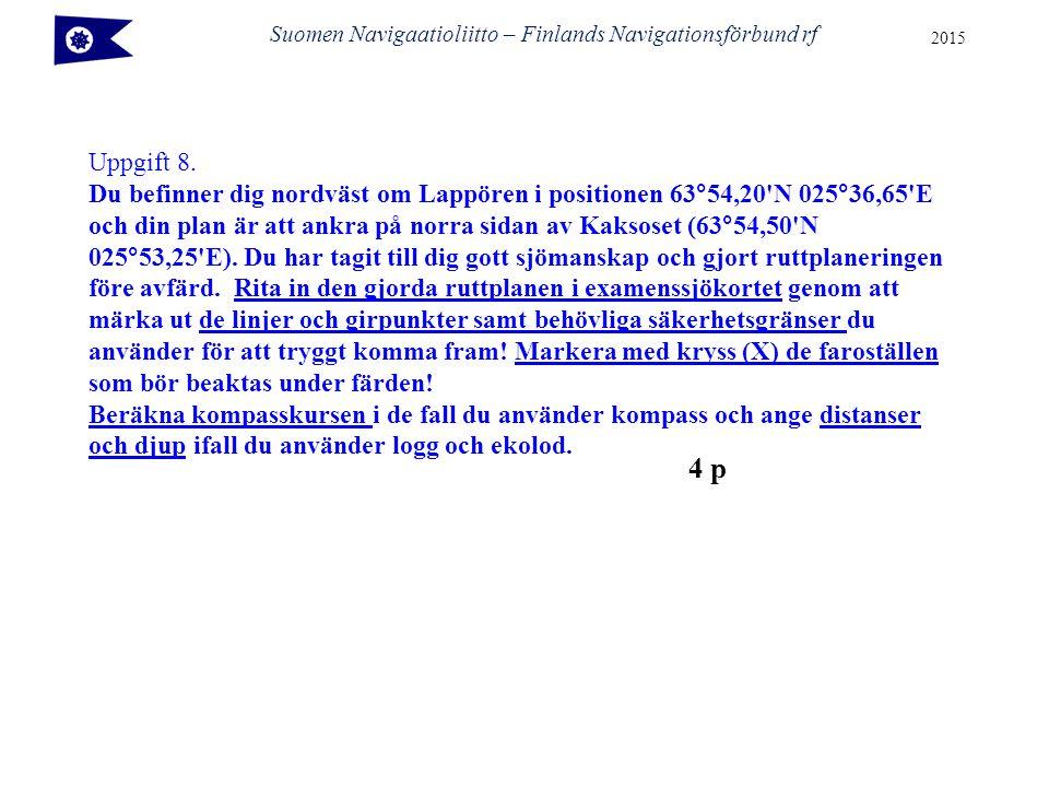 Suomen Navigaatioliitto – Finlands Navigationsförbund rf 2015 Uppgift 8.