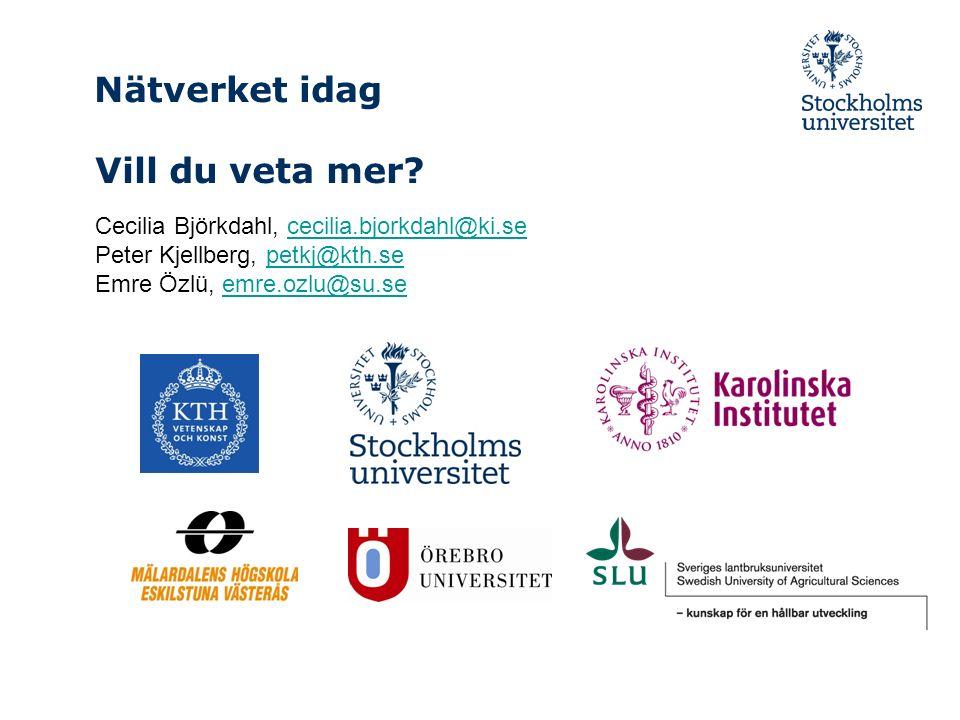 Nätverket idag Cecilia Björkdahl, cecilia.bjorkdahl@ki.sececilia.bjorkdahl@ki.se Peter Kjellberg, petkj@kth.sepetkj@kth.se Emre Özlü, emre.ozlu@su.seemre.ozlu@su.se Vill du veta mer