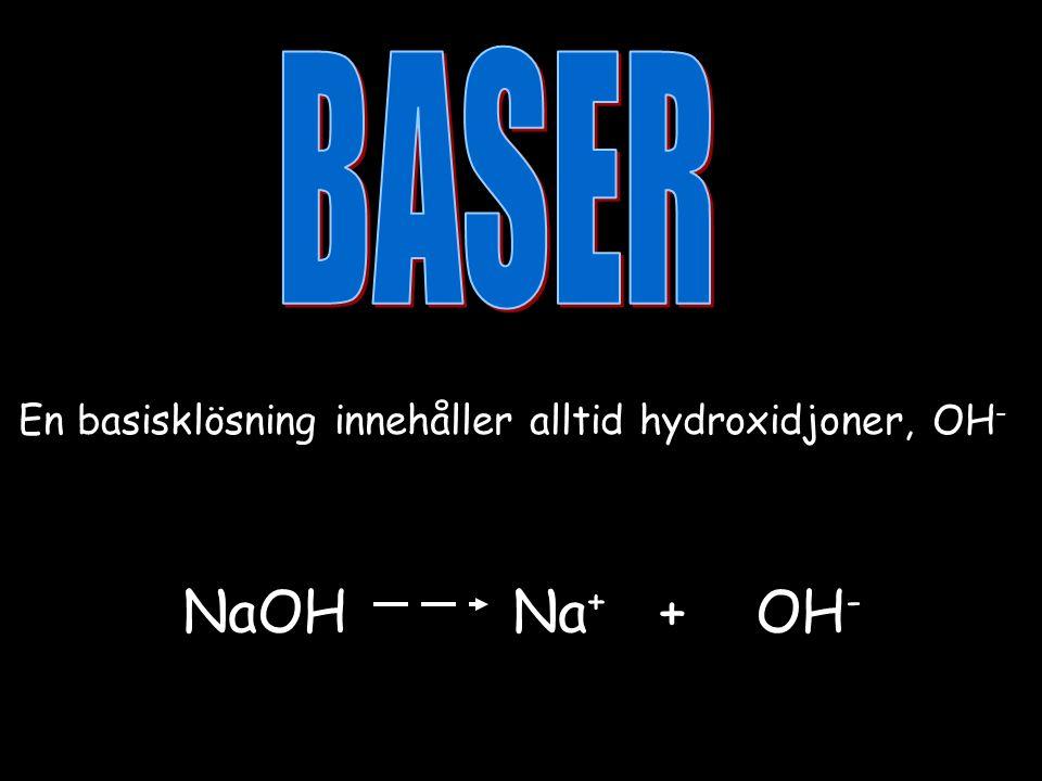 En basisklösning innehåller alltid hydroxidjoner, OH - NaOH Na + + OH -