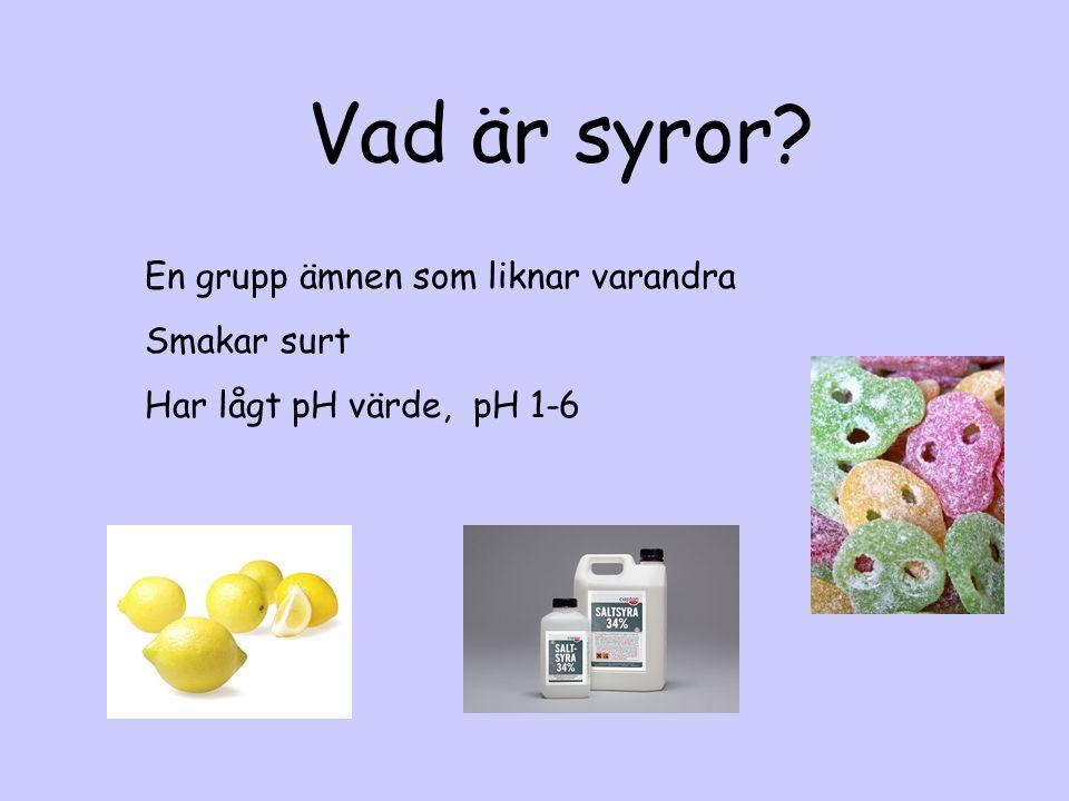 Vad är syror En grupp ämnen som liknar varandra Smakar surt Har lågt pH värde, pH 1-6