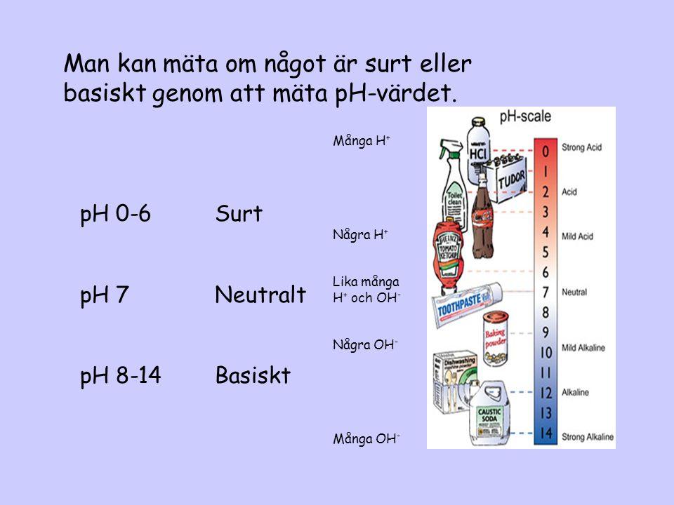 Vatten, H 2 O Är neutralt Har pH 7 Innehåller lika många H+ som OH-