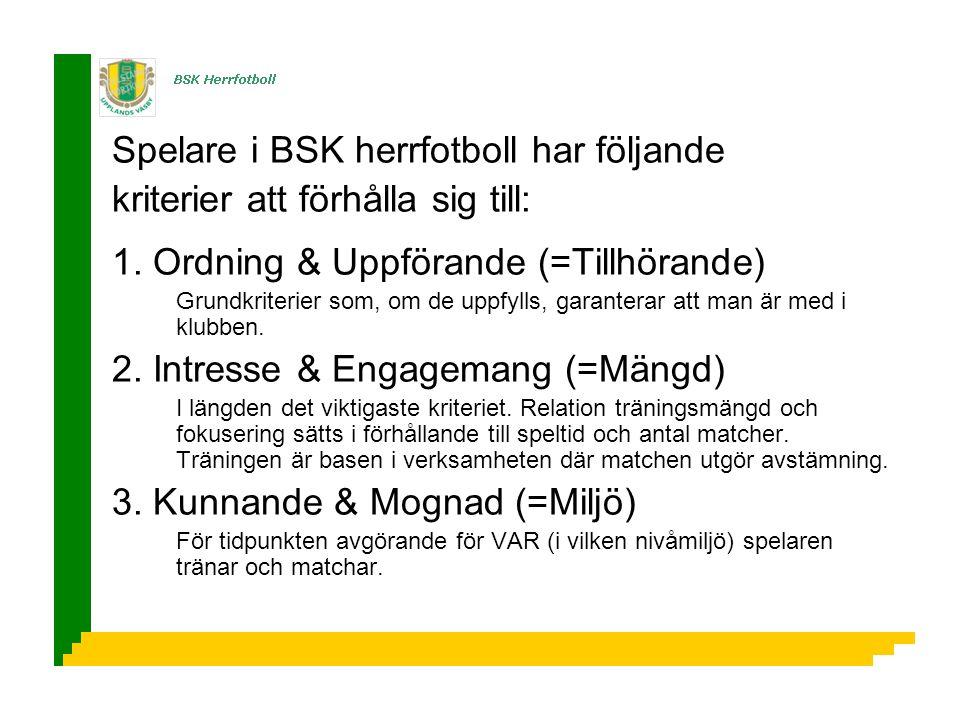 Spelare i BSK herrfotboll har följande kriterier att förhålla sig till: 1.