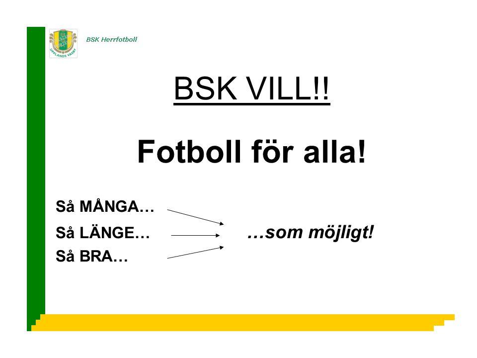BSK VILL!! Fotboll för alla! Så MÅNGA… Så LÄNGE… …som möjligt! Så BRA…