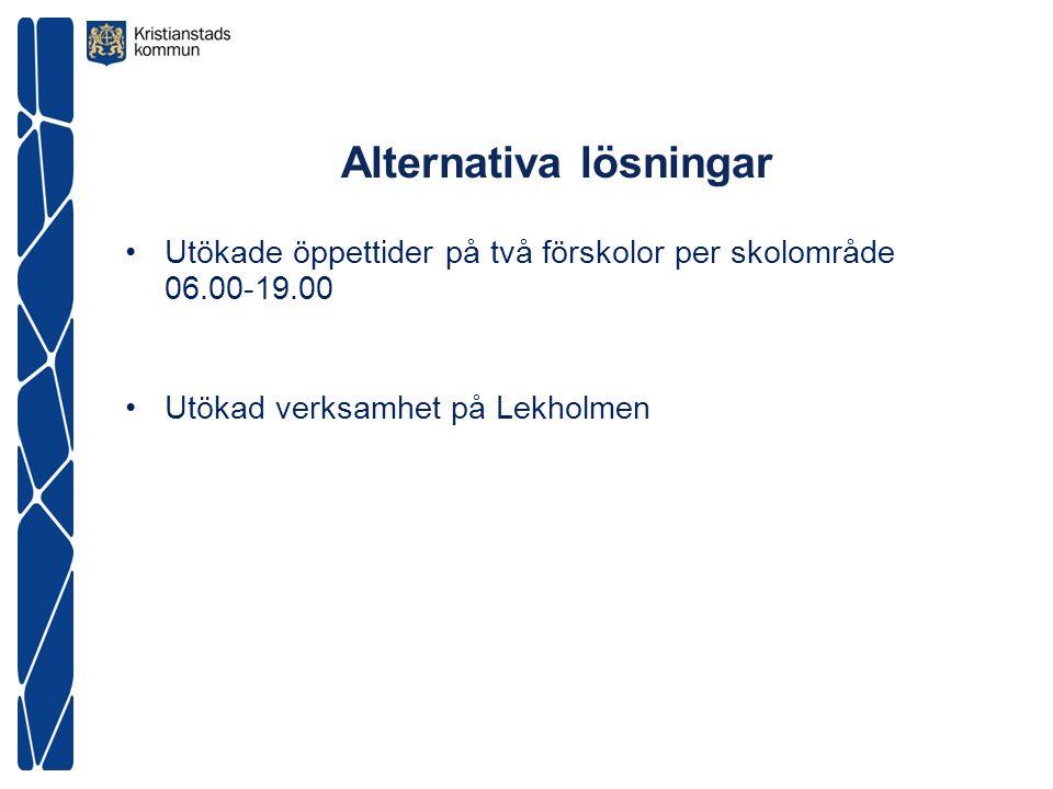 Alternativa lösningar Utökade öppettider på två förskolor per skolområde 06.00-19.00 Utökad verksamhet på Lekholmen
