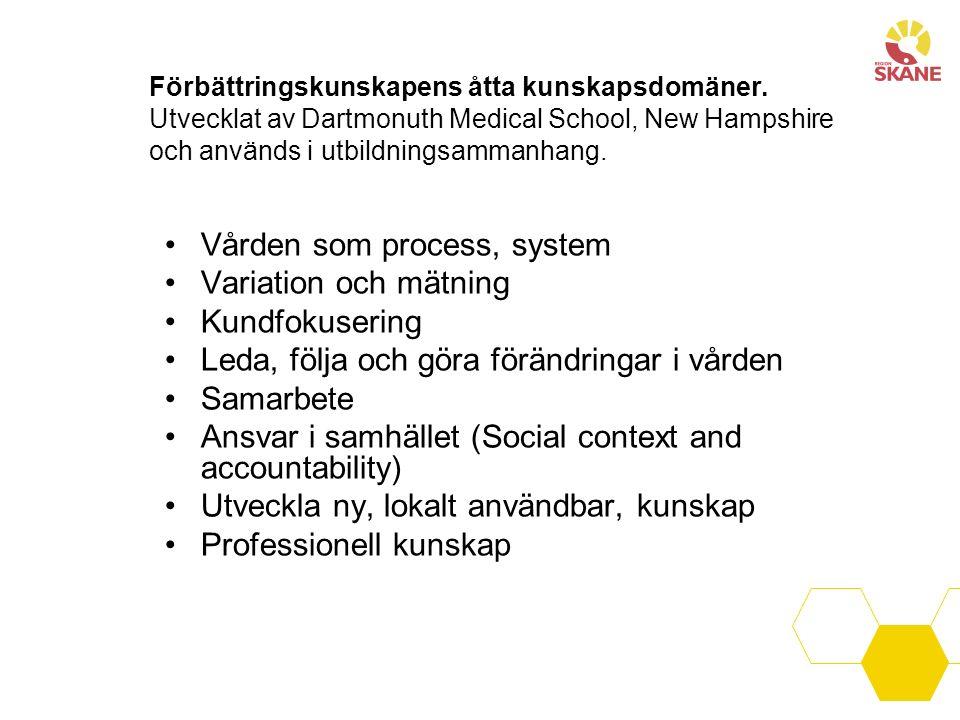 Förbättringskunskapens åtta kunskapsdomäner. Utvecklat av Dartmonuth Medical School, New Hampshire och används i utbildningsammanhang. Vården som proc