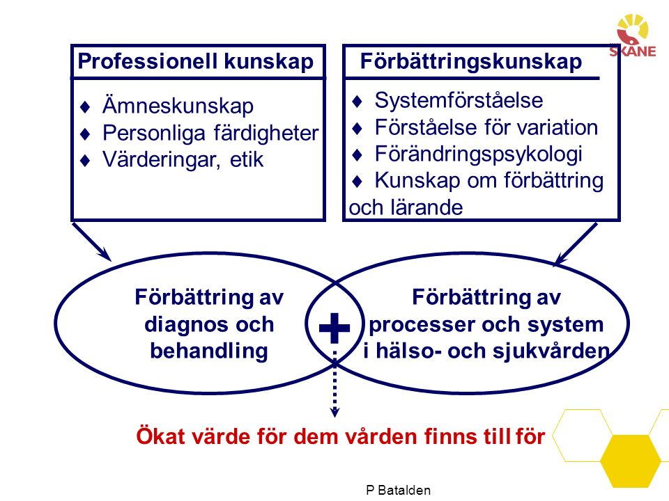 Professionell kunskap  Ämneskunskap  Personliga färdigheter  Värderingar, etik Förbättringskunskap Förbättring av diagnos och behandling Förbättring av processer och system i hälso- och sjukvården + Ökat värde för dem vården finns till för Utvecklat efter Batalden  Systemförståelse  Förståelse för variation  Förändringspsykologi  Kunskap om förbättring och lärande P Batalden
