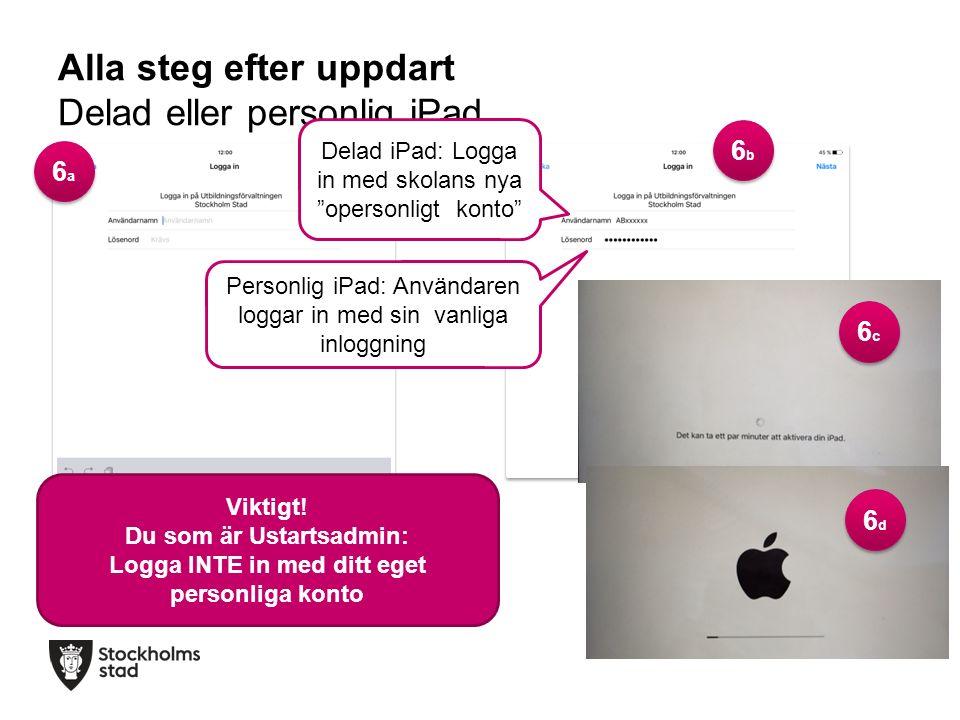 Alla steg efter uppdart Delad eller personlig iPad Delad iPad: Logga in med skolans nya opersonligt konto Personlig iPad: Användaren loggar in med sin vanliga inloggning Viktigt.