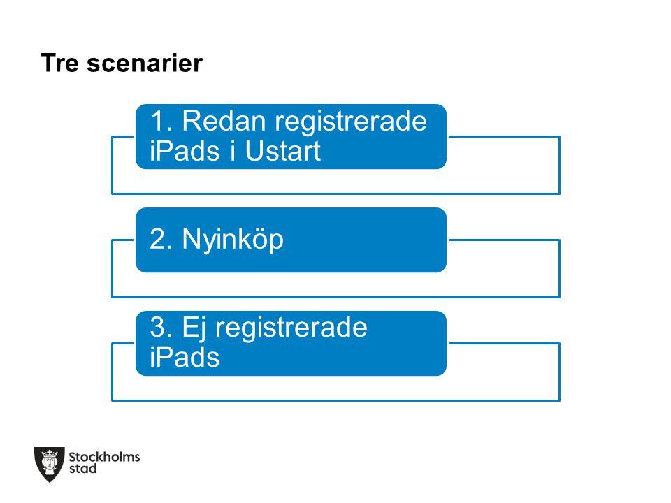 Tre scenarier 1. Redan registrerade iPads i Ustart 2. Nyinköp 3. Ej registrerade iPads