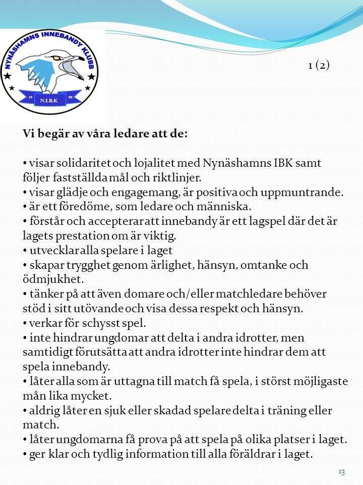 Vi begär av våra ledare att de: visar solidaritet och lojalitet med Nynäshamns IBK samt följer fastställda mål och riktlinjer. visar glädje och engage