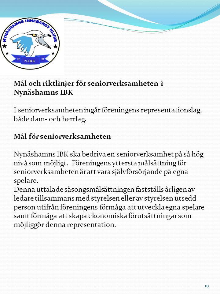 Mål och riktlinjer för seniorverksamheten i Nynäshamns IBK I seniorverksamheten ingår föreningens representationslag, både dam- och herrlag. Mål för s