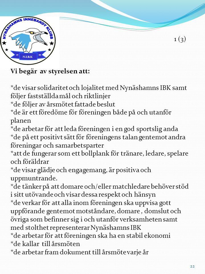 Vi begär av styrelsen att: *de visar solidaritet och lojalitet med Nynäshamns IBK samt följer fastställda mål och riktlinjer *de följer av årsmötet fa