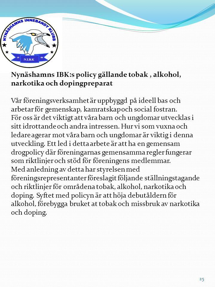 25 Nynäshamns IBK:s policy gällande tobak, alkohol, narkotika och dopingpreparat Vår föreningsverksamhet är uppbyggd på ideell bas och arbetar för gem