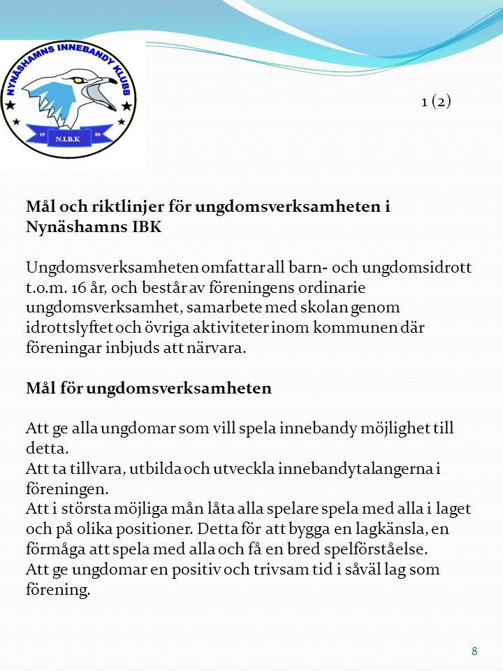 Mål och riktlinjer för ungdomsverksamheten i Nynäshamns IBK Ungdomsverksamheten omfattar all barn- och ungdomsidrott t.o.m. 16 år, och består av fören