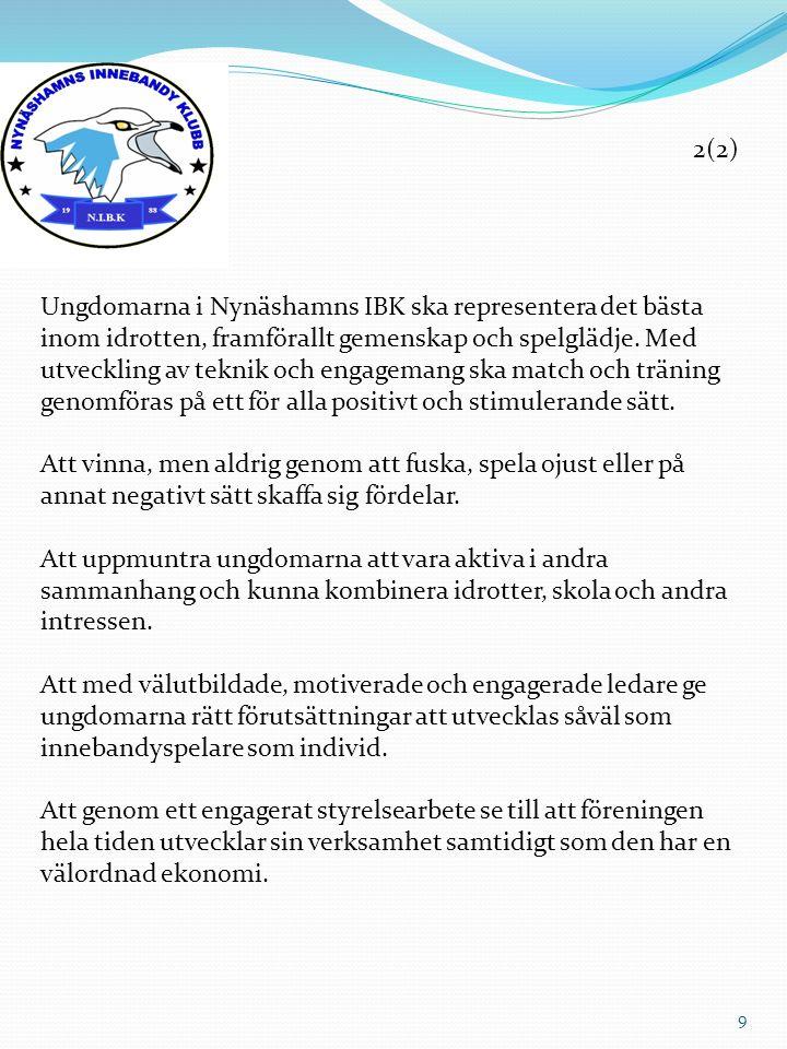 2(2) Ungdomarna i Nynäshamns IBK ska representera det bästa inom idrotten, framförallt gemenskap och spelglädje. Med utveckling av teknik och engagema