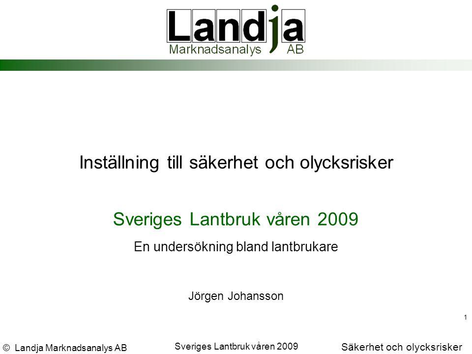 © Landja Marknadsanalys AB Säkerhet och olycksrisker Sveriges Lantbruk våren 2009 32 % Har du råkat ut för en olycka i arbetet på gården det senaste året, som föranledde besök på vårdcentral eller sjukhus?