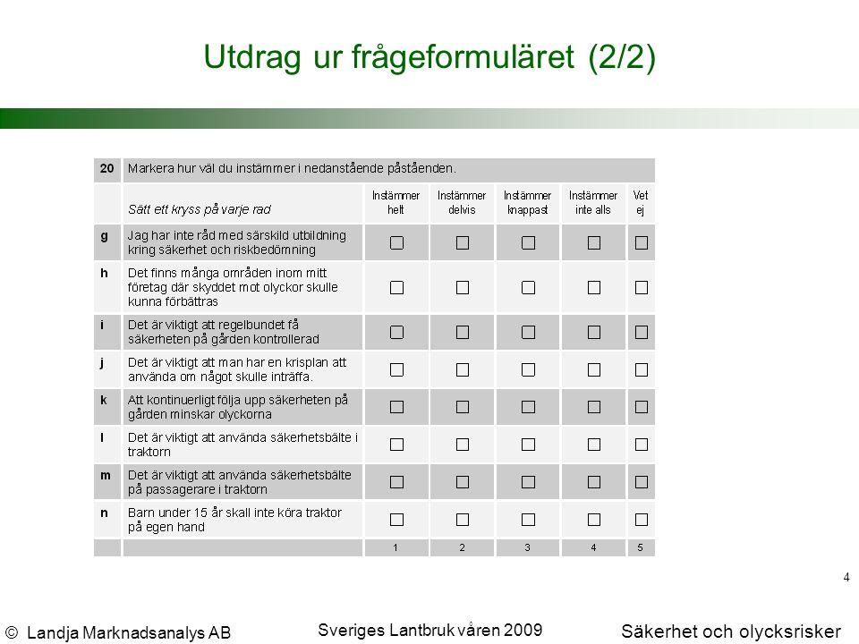 © Landja Marknadsanalys AB Säkerhet och olycksrisker Sveriges Lantbruk våren 2009 4 Utdrag ur frågeformuläret (2/2)