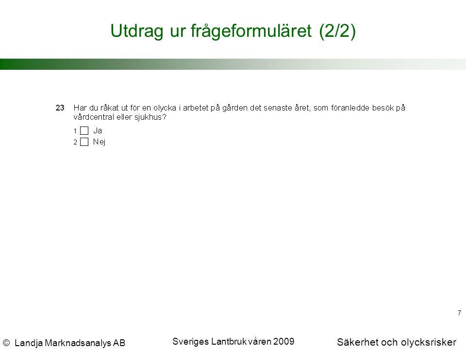 © Landja Marknadsanalys AB Säkerhet och olycksrisker Sveriges Lantbruk våren 2009 7 Utdrag ur frågeformuläret (2/2)