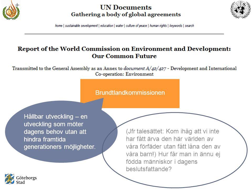 Brundtlandkommissionen Hållbar utveckling – en utveckling som möter dagens behov utan att hindra framtida generationers möjligheter.