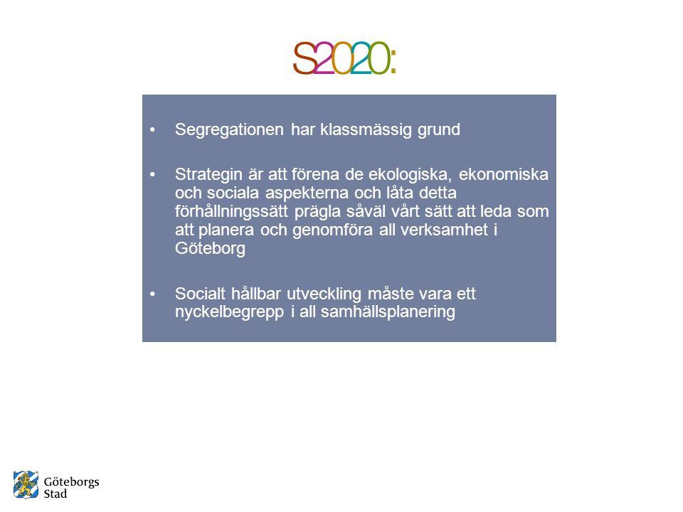Segregationen har klassmässig grund Strategin är att förena de ekologiska, ekonomiska och sociala aspekterna och låta detta förhållningssätt prägla såväl vårt sätt att leda som att planera och genomföra all verksamhet i Göteborg Socialt hållbar utveckling måste vara ett nyckelbegrepp i all samhällsplanering