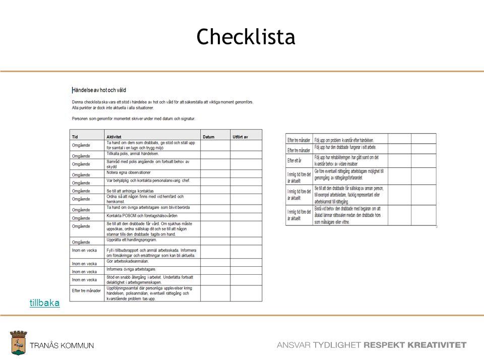 SAMHÄLLSBYGGNADSFÖRVALTNINGEN Checklista tillbaka