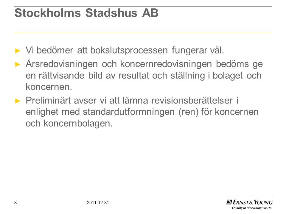 Stockholms Stadshus AB ► Vi bedömer att bokslutsprocessen fungerar väl.