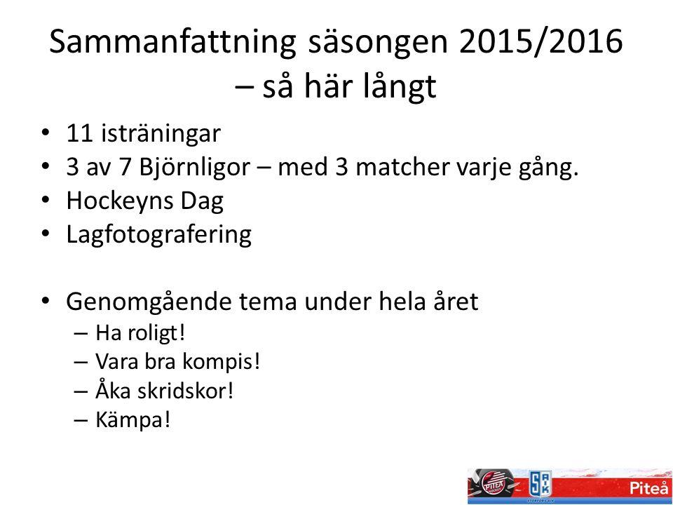 Sammanfattning säsongen 2015/2016 – så här långt 11 isträningar 3 av 7 Björnligor – med 3 matcher varje gång. Hockeyns Dag Lagfotografering Genomgåend