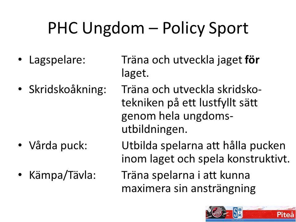 PHC Ungdom – Policy Sport Lagspelare:Träna och utveckla jaget för laget. Skridskoåkning: Träna och utveckla skridsko- tekniken på ett lustfyllt sätt g