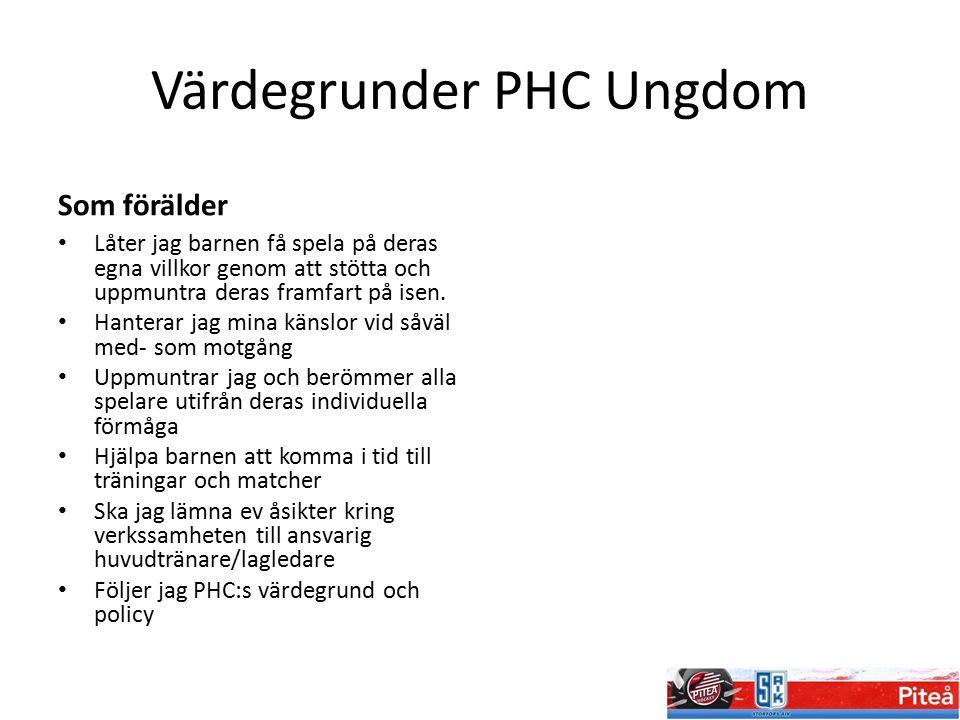 Värdegrunder PHC Ungdom Som förälder Låter jag barnen få spela på deras egna villkor genom att stötta och uppmuntra deras framfart på isen. Hanterar j