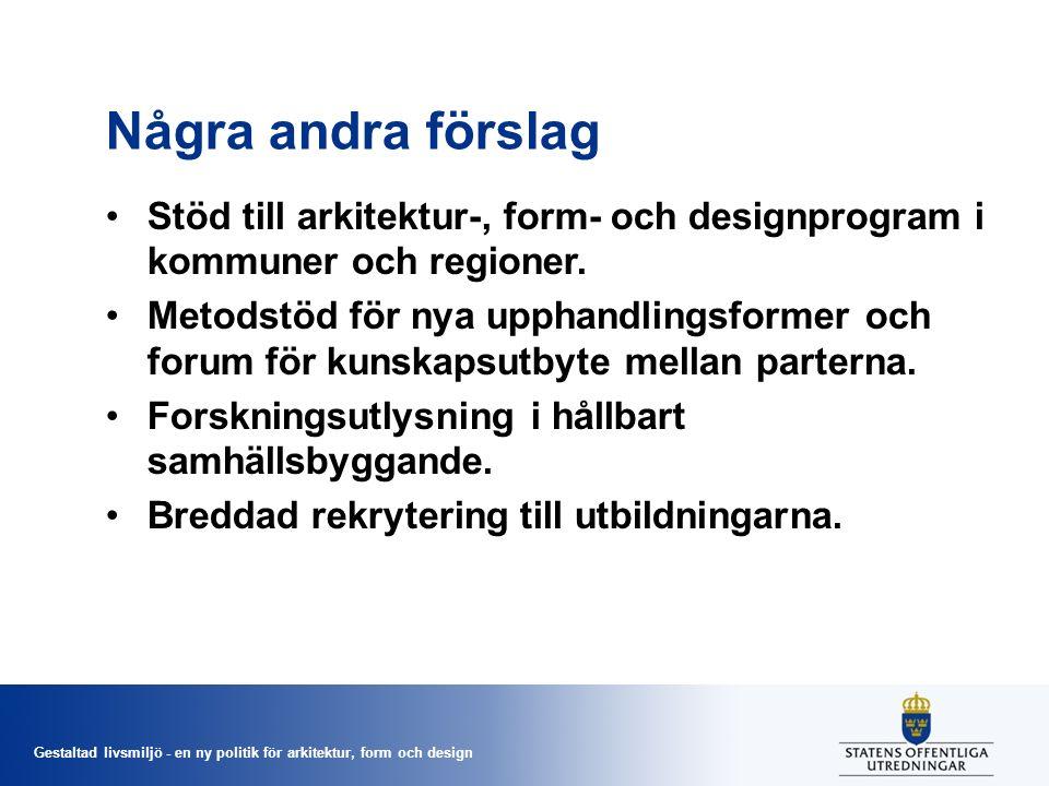Gestaltad livsmiljö - en ny politik för arkitektur, form och design Några andra förslag Stöd till arkitektur-, form- och designprogram i kommuner och regioner.