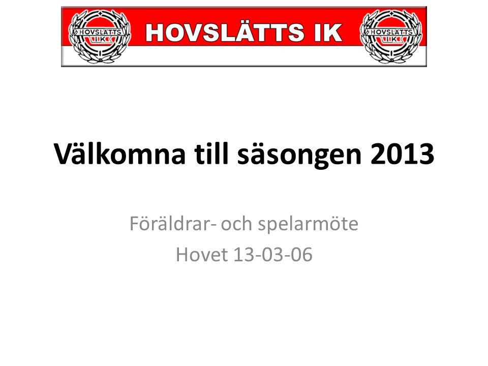 Välkomna till säsongen 2013 Föräldrar- och spelarmöte Hovet 13-03-06