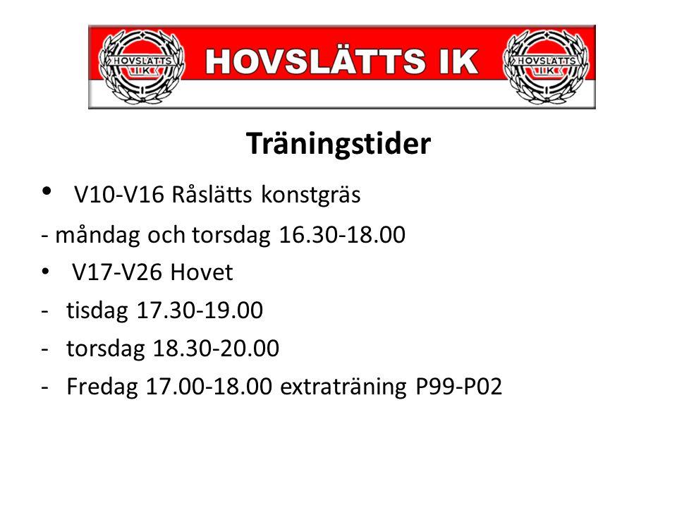 Träningstider V10-V16 Råslätts konstgräs - måndag och torsdag 16.30-18.00 V17-V26 Hovet -tisdag 17.30-19.00 -torsdag 18.30-20.00 -Fredag 17.00-18.00 e