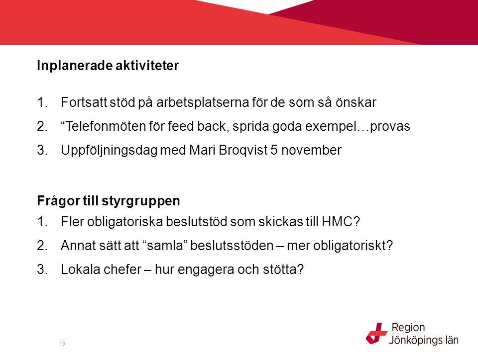 19 Inplanerade aktiviteter 1.Fortsatt stöd på arbetsplatserna för de som så önskar 2. Telefonmöten för feed back, sprida goda exempel…provas 3.Uppföljningsdag med Mari Broqvist 5 november Frågor till styrgruppen 1.Fler obligatoriska beslutstöd som skickas till HMC.