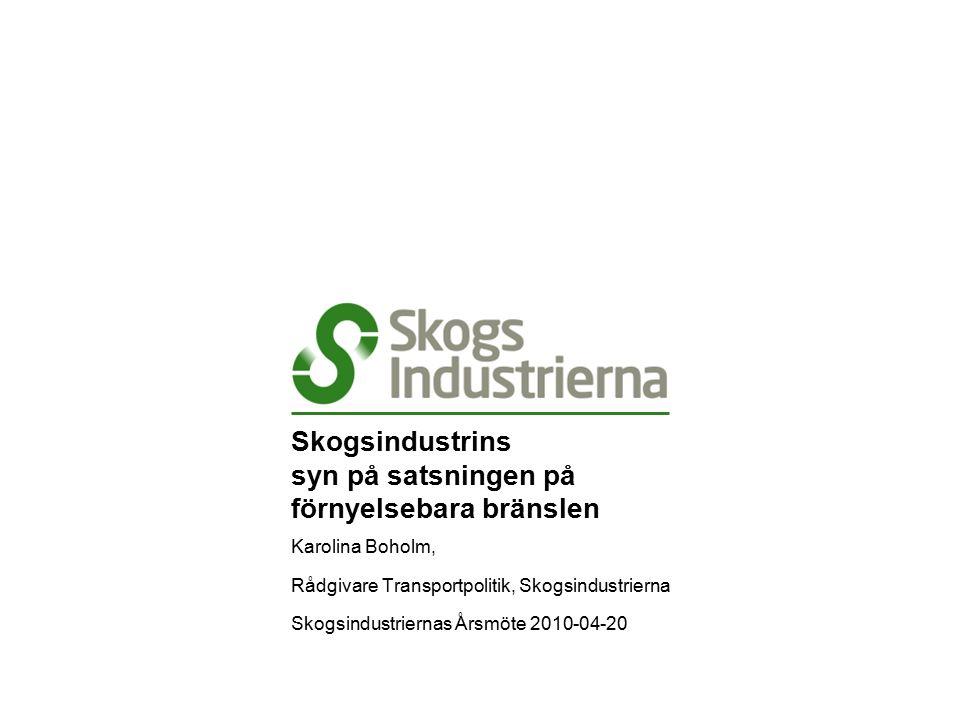 Skogsindustrins syn på satsningen på förnyelsebara bränslen Karolina Boholm, Rådgivare Transportpolitik, Skogsindustrierna Skogsindustriernas Årsmöte 2010-04-20