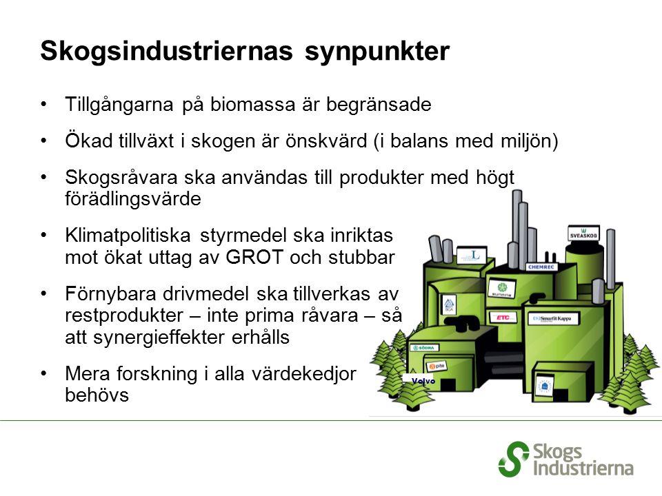 Skogsindustriernas synpunkter Volvo Tillgångarna på biomassa är begränsade Ökad tillväxt i skogen är önskvärd (i balans med miljön) Skogsråvara ska an