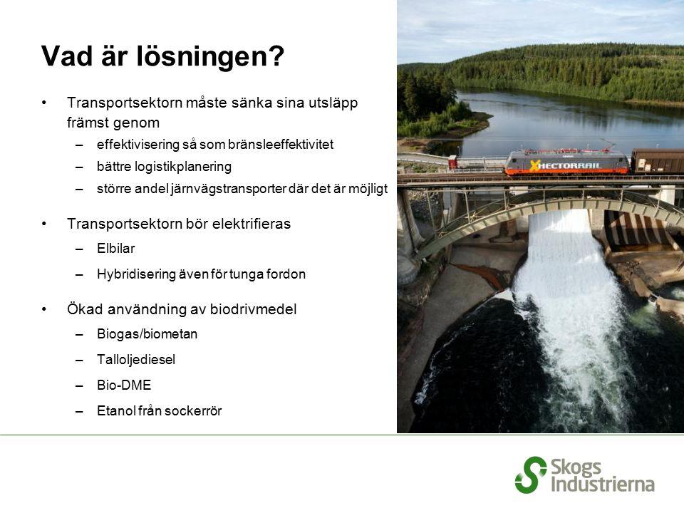 Vad är lösningen? Transportsektorn måste sänka sina utsläpp främst genom –effektivisering så som bränsleeffektivitet –bättre logistikplanering –större