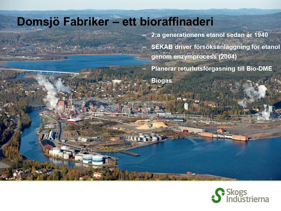 –2:a generationens etanol sedan år 1940 –SEKAB driver försöksanläggning för etanol genom enzymprocess (2004) –Planerar returlutsförgasning till Bio-DME –Biogas Domsjö Fabriker – ett bioraffinaderi