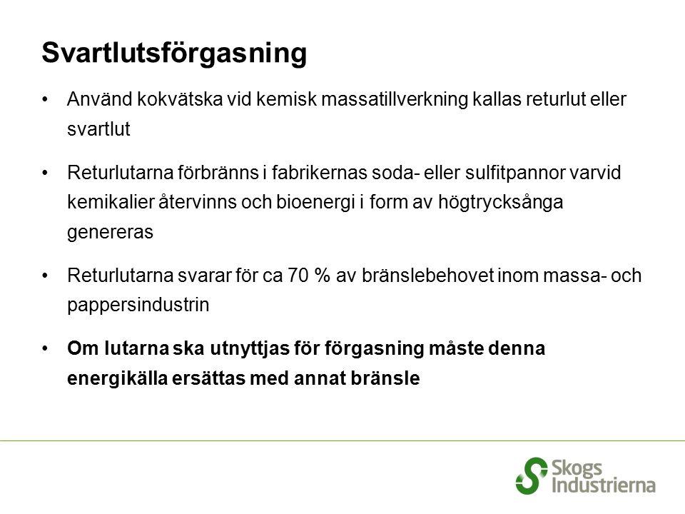Potentialen för produktion av andra generationens drivmedel år 2020 TeknikTWh/år DME/metanol från svartlut7,7 DME/metanol genom termisk förgasning 7,2 Etanol från cellulosa3,2 Totalt18,1 Referens: Fordonsbränslen från skogsråvara - olika tekniker, utvecklingsstatus, kostnader och behov av skogsråvara, ÅF (Hylander & Boholm), 2006 Realistiskt är att uppnå cirka hälften av denna potential år 2020, dvs 9 TWh Om råvaran blir dyrare minskar lönsamheten i produktion av kemisk massa dvs underlaget för svartlut och tallolja minskar!